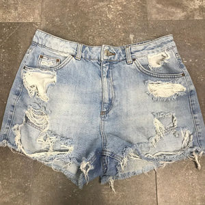 Topshop Moto Mom Distressed Denim Shorts